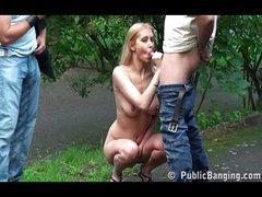 Cute blonde hottie taken on public road