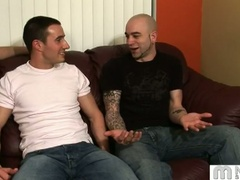 Three homosexuals talk and start fondling and kissing