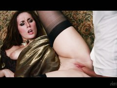 Dark haired lady Paige Turnah in nice long dress and black stockings gets her hairless pink pussy clothed in variety of positions by fuck-hungry man