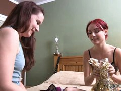 Annabelle Lee and Zoe Voss spend time in the bedroom sorting out clothes . Skinny redhead feels free showing her neat tiny tits while trying out new bra.