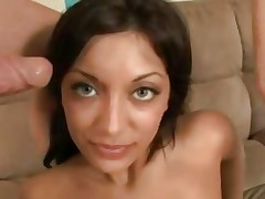 Audrianna Angel gets her face sprayed with warm cum