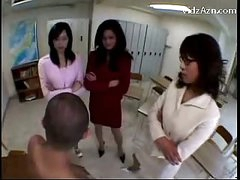3 Teachers Raping Guy Rubbing His Face With Tits Getting Pussy Licked In The Classroom