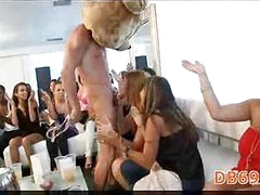 Woman fucks a stripper in front of her coworkers