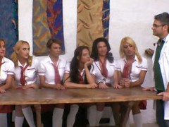 Ultra-Hot Shemale Schoolgirls Group-Fuck Teacher!