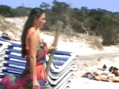 Old school tape of a sexy beach fuck that ends with a jizz flow