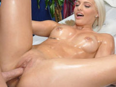 Cute blond Macy is enticed and fucked hard by her massage therapist