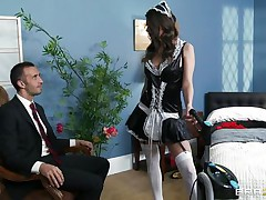 hot brunette wet pussy deep fucked by her boss