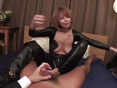 dominatrix japanese housewife straddles husband
