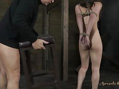 trashy milf tied on chair and mouth fucked