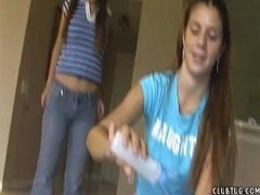 Teen Jerks her neighbor during the time that her friend laughs