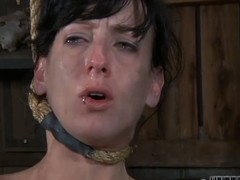 Gagged beauty's cunt is being drilled viciously by hard rod