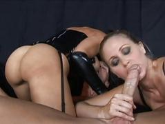 Brunette and blonde milfs sucking cock and fucking hard
