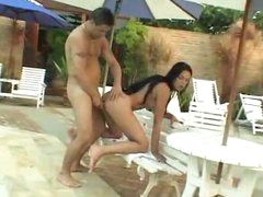 Ass fucking with tgirl by the pool
