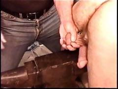 Hot muscle fellow Derek Da Silva gets balls bashed on metallic anvil.