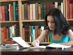 Voyeur Catches an Amateur Brunette Babe Taking a Hardcore Study Break