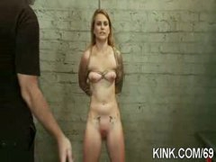 Breasty waitress punished and drilled in thraldom