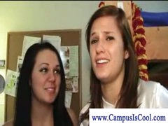 Lesbian college girls in naked dorm joy
