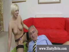 Stocking wearing youngster gets creampie by old kinky man