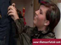 Rich lady taking advantage of handyman