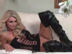 Irresistible blonde in leather boots toys solo